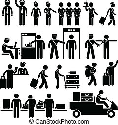 Trabajadores del aeropuerto y seguridad