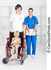 Trabajadores médicos y poco paciente