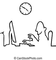 trabajando, atrás, computadora, 5, 9, hombre