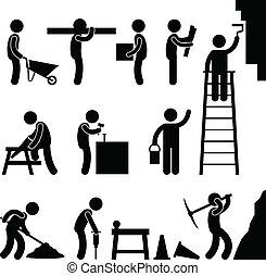 Trabajando duro en la construcción