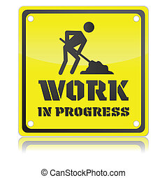 trabajo, aislado, ilustración, solo, vector, progreso, icono