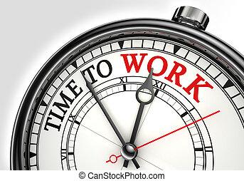 trabajo, concepto, reloj de tiempo