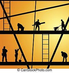 trabajo, construcción, vector, trabajador, ilustración