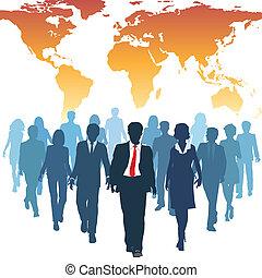 trabajo, empresarios, global, humano, equipo, recursos