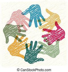 trabajo en equipo, manos
