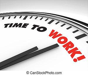 trabajo, -, reloj de tiempo
