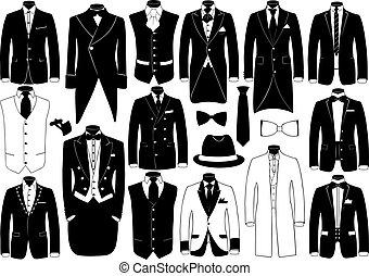 trajes, conjunto, ilustración