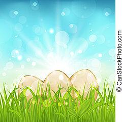 Trasfondo de Pascua con huevos en la hierba