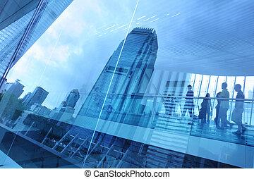 Trasfondo de vidrio de la ciudad azul