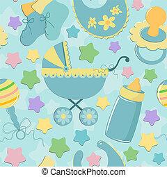 Trasfondo sin fisuras con los objetos del bebé
