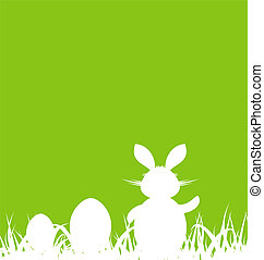 Trasfondo verde de dibujos animados con conejo y huevos de Pascua