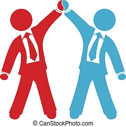 trato, empresarios, acuerdo, éxito, celebrar