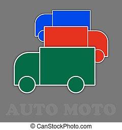 Tres camiones en verde, rojo y azul