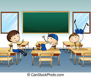 Tres chicos jugando dentro de la clase