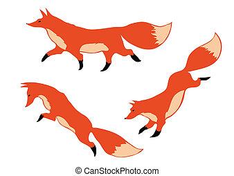 Tres zorros rojos