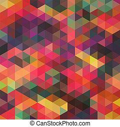 Triángulos de formas geométricas. Colorido fondo mosaico. Trasfondo moderno geométrico retro, coloca tu texto en la parte superior. Trasfondo de triángulo retro. Telón de fondo