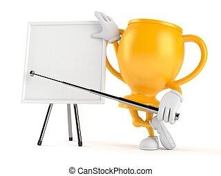 trofeo, blanco, whiteboard, dorado, carácter