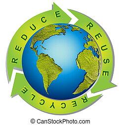 Un ambiente limpio, un símbolo de reciclaje conceptual