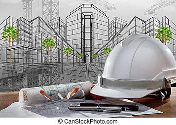 Un archivo de cascos de seguridad y arquitecto plantados en una mesa de madera con una escena de atardecer y construcción