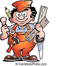 Un ayudante carpintero