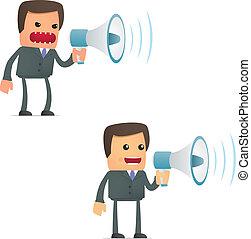 Un cómico empresario de dibujos animados con un megáfono