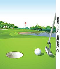 Un campo de golf limpio y verde
