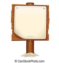 Un cartel de madera con papel. Imagen del vector