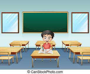 Un chico dentro de un aula con una tabla vacía atrás