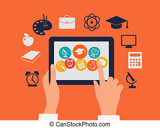 Un concepto de aprendizaje electrónico. Manos tocando una tableta con iconos educativos. Vector.