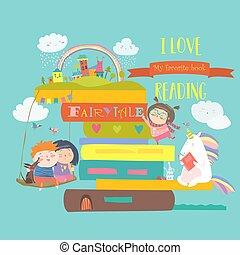 Un concepto de cuento de hadas con libro, uniforme y niños