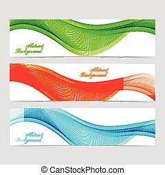 Un conjunto de banderas coloridas con líneas curvas. Ilustración de vectores