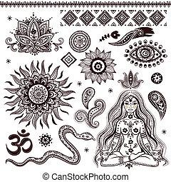 Un conjunto de elementos indios ornamentales y símbolos