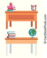 Un conjunto de escritorios con libros y manzanas con mapa global y reloj
