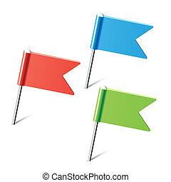 Un conjunto de insignias de colores