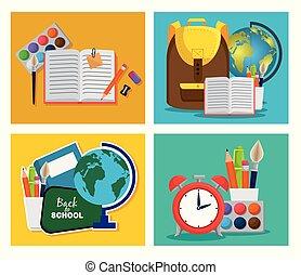 Un conjunto de mochilas con cuaderno y mapa global con lápices