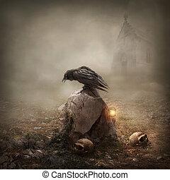 Un cuervo sentado en una lápida