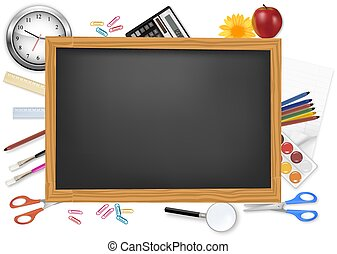 Un escritorio negro con suministros escolares.