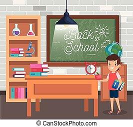 Un estudiante con libros en el escritorio y reloj