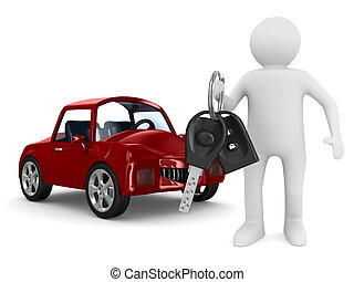 Un hombre con llaves de coche. Imagen 3D aislada