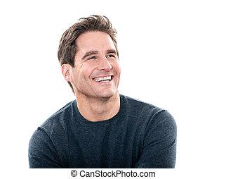 Un hombre guapo y guapo que se ríe del retrato