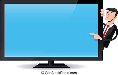 Un hombre señalando TV de pantalla plana