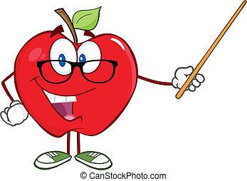 Un maestro de manzana con un puntero