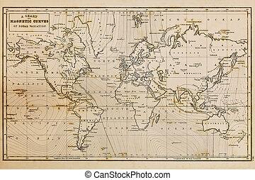 Un mapa del mundo antiguo dibujado