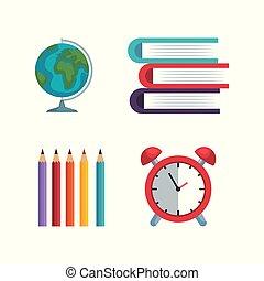 Un mapa global con lápices, colores y libros con alarma de reloj