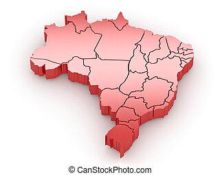 Un mapa tridimensional de Brasil. 3D