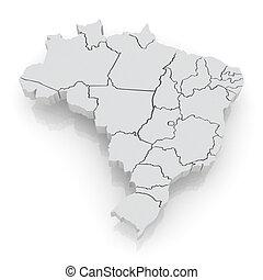 Un mapa tridimensional de Brasil.