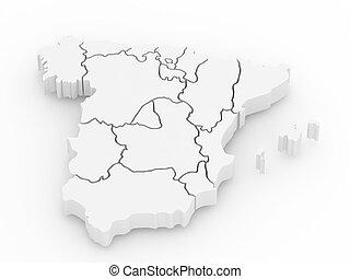 Un mapa tridimensional de España. 3D