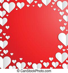 Un marco de San Valentín con corazones cortados de papel