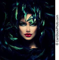 Un misterioso retrato de mujer. Hermosa mujer modelo de cerca