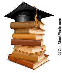 Un montón de libros con gorra de graduación